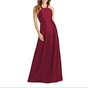 NWT Alfred Sung Lace-Up Back Satin A-Line Gown